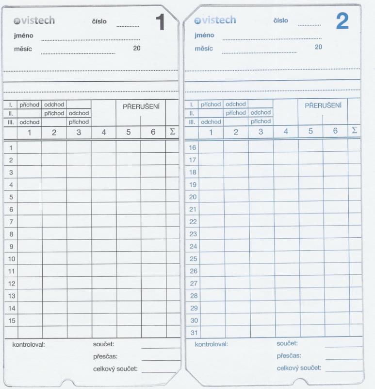 Docházková karta / docházkový lístek - AMANO